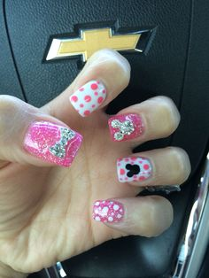 These are Inspired Mini Mouse nails ideas , you dont have to be a big fan of Disney to want to show of these beautiful nails . These are some creative ideas we gathered from Mickey Nails, Minnie Mouse Nails, Mickey Mouse, Fancy Nails, Love Nails, Pretty Nails, My Nails, Disney Nail Designs, Toe Nail Designs