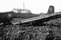 "Landed on the emergency landing German dive bomber Junkers Ju-87 B ""Stuka"" (from the German Sturzkampfflugzeug – dive bomber) from I./St.G3 (Group 1 3rd Squadron dive bombers). Non-retractable landing gear in this case pyrotechnical firing."
