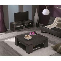 Ens Knok Table Basse Et Banc Tv :- 137057 Banc Tv 2 Tiroirs/2 Niches Knok- 137058 Table Basse 89X89CM Knok999071 : en vente sur RueDuCommerce