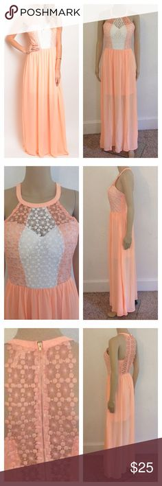 NIP Peach Lace Semi Formal Gown ****PRICE FIRM NO TRADES****  Sleeveless top crochet lace detail fitted waist goddess maxi gown.  Color: Peach & White  Item is brand new in the package.   ****PRICE FIRM NO TRADES**** ****PRICE FIRM NO TRADES**** ****PRICE FIRM NO TRADES**** Dresses Maxi