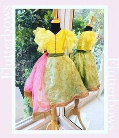 A tulle choli with intiricate pleats on both sides, frilly sleeves and a stone line running through the blouse. The ghagra is a tissue base with self design Kids Ethnic Wear, Self Design, Daffodils, Indian Wear, Harajuku, Kids Outfits, Tulle, Girls Dresses, Kids Clothing