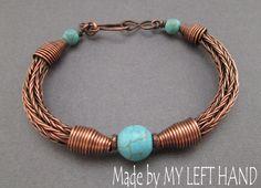 Türkis Kupfer baumeln stricken Viking Armband Armband Türkis Armband Antiqued Kupfer Armband Türkis Schmuck Wikinger Schmuck