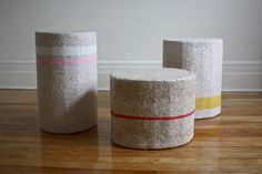 paper stools are light and durable - dear human explores different uses for recycled paper-made objects