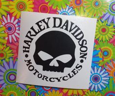 Harley Davidson Skull Vinyl Decal.... *** IF YOU WANT ANY PART OF THIS DECAL IN GLITTER OR LILY PATTERN, YOU MUST MAKE THIS YOUR CHOICE WHEN CHOOSING THE SIZE ABOVE BEFORE ADDING TO CART    1. Please choose the size above. 2. Please choose color above. *** IF YOU WANT ANY PART OF THIS DECAL IN GLITTER OR LILY PATTERN, YOU MUST MAKE THIS YOUR CHOICE WHEN CHOOSING THE SIZE ABOVE BEFORE ADDING TO CART…