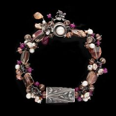 Anne Choi, Pearl, Oregon Sunstone, Ruby Sterling Silver Bracelet from btwisted on Ruby Lane