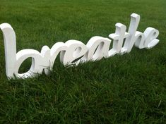 Wood sign word BREATHE wood script home decor yoga by SunFla, $59.00