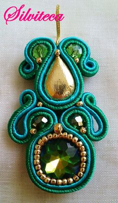Soutache Pendant, Soutache Jewelry, Beaded Jewelry, Unique Jewelry, Gold Bridal Earrings, Beaded Earrings, Crochet Earrings, Irises, Barrette