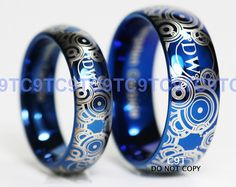 doctor who inspired 3 piece wedding sethand by lawrencecustoms my wedding - Doctor Who Wedding Ring
