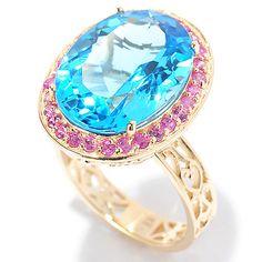 145-917- Gems en Vogue 14K Gold 10.40ctw Swiss Blue Topaz & Pink Sapphire Ring