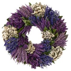 Adorned with white sinuata and lavender, this lifelike wreath is a welcoming accent whether in the entryway or displayed above your mantel.