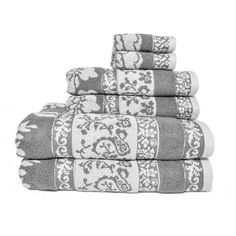 Elegant Better Homes And Gardens Jacquard 6 Piece Towel Set, Silver Flower