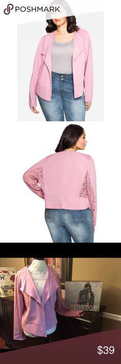 Ashley Stewart Floral Lace Jacket-Pink, Size 16 Ashley Stewart Floral Ponte Lace Jacket-Pink, Size 16  Brand new with tag! ☺This jacket has lace detail on the shoulders, sides and sleeves (see-through on sides and sleeves). Wear this with some cute jeans or slacks.  Length-22 inches  Material- Rayon/Nylon/Spandex Ashley Stewart Jackets & Coats Blazers