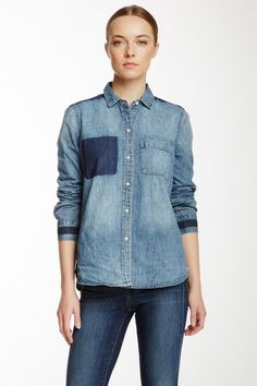 CK Jeans Destructed Button Front Denim Shirt by Non Specific on @HauteLook