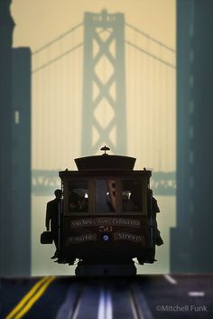 Cable Car In Front Of Bay Bridge, San Francisco By Mitchell Funk www.mitchellfunk.com