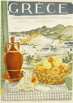 Vintage travel poster of Poros island Greece 1940's #kitsakis