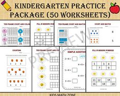 Excited to share this item from my shop: Kindergarten Practice Worksheets - 51 Printable Worksheets/ pdf/ Kindergarten/ Preschool/ Numeracy Games Kids/counting/number/ten frame/add Math Addition Worksheets, Printable Preschool Worksheets, Preschool Activities, Worksheets For Kids, Math Workbook, Kindergarten Math Worksheets, Practice Math Problems, Math Words, 1st Grade Math