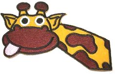 """Amazon.com: [Single Count] Custom and Unique (4.5"""" x 2.7"""" Inch) """"Animal"""" Silly Children's Reaching Jungle Fun African Giraffe & Fun Tongue Design Iron On Embroidered Applique Patch {Assorted Colors}"""