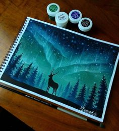 northern lights by Nini Bezarashvili. Gouache painting #snow #art #deer #cold #amazing #beautiful #stars #lights #talent #light #creative #sky #woods #winter #blue #galaxy #starry #harrypotter #drawing #space #photography #inspiration #painting #night #color #F4F #FF #colors