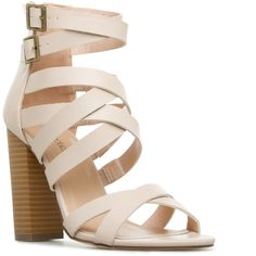 ShoeDazzle Sandals-Dressy - Single Sole Shaeleigh Womens White ❤ liked on Polyvore featuring shoes, sandals, white dressy sandals, white strap shoes, fancy shoes, dressy sandals and strappy sandals