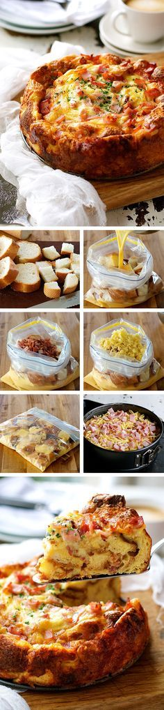Cheese Bacon Strata Cake (Savoury Bread Pudding / Bread Bake) - made with just bread, eggs, milk, cheese and bacon. Great make ahead for feeding a crowd! This recipe is sooo happening at my next brunch! Breakfast Strata, Bacon Breakfast, Breakfast Dishes, Breakfast Casserole, Breakfast Recipes, Breakfast At Work Ideas, Sunday Breakfast, Savory Bread Puddings, Recipetin Eats
