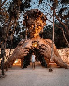 """A beautiful towering wooden sculpture called """"Ven a La Luz"""" welcomes guests onto the beach at Ahau Tulum in Mexico 🇲🇽 Photo b Travel And Tourism, Solo Travel, Travel List, Budget Travel, Travel Ideas, Kyoto, Travel Pictures, Travel Photos, Festivals"""
