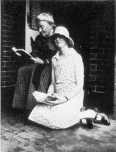 Women reading on the veranda of their home in Cremorne - Sydney, NSW, Photographed by - Ella Hammond. Hannah Hammond and granddaughter Barbara Hammond, c. 1920s, via Flickr.