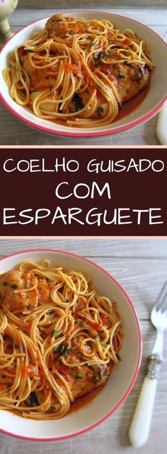 This stewed rabbit recipe with spaghetti is perfect for those cold winter days. It's a comforting and very tasty recipe! Serve this delicious recipe at a family lunch, they will love it… Meat Recipes, Pasta Recipes, Real Food Recipes, Rabbit Recipes, Guisado, Rabbit Food, Wild Rabbit, Portuguese Recipes, Portuguese Food