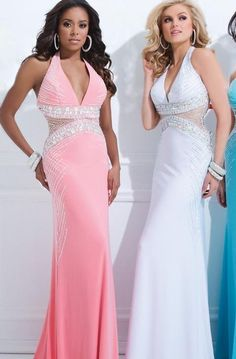 Fashion Chiffon Sleeveless Trumpet Natural Pink Prom Dress In Stock kaladress13953