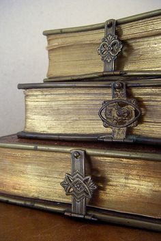 Antique books with locks - makes you think there is something worth protecing in them.