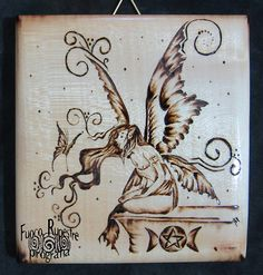 *Fairy* *Pyrography on Maple Wood*