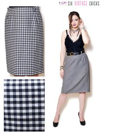 plaid Skirt vintage high waisted women clothing midi 80s clothing black and white pencil skirt wool skirt Retro minimalist office clothes by SixVintageChicks on Etsy