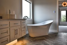 Master Bath Tub, Bathroom Lighting, Cabinet Lighting Herringbone Bathroom Tile