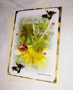"""Carte double Meilleurs Voeux 10,5x15cm réalisée à partir d'une photo d'un petite coccinelle sur un bouton d'or""""Coccinelle et boutons d'or"""" Minions, Yellow Sun, Happy Mothers Day, Ladybug, Overlays, Or, First Love, My Photos, Happy Birthday"""