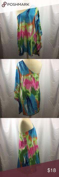 Mudpie One Shoulder Multi-Color Tunic Blouse Mudpie One Shoulder Multi-Color Tunic Blouse, bright colors, Pom Pom trim, perfect bathing suit cover up or pair with leggings or skinny jeans, great pre-owned condition, no stains, no holes Mud Pie Tops Tunics