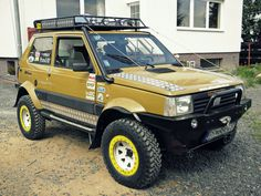 Fiat Panda, off roading, wheels, expedition, trail blazing, power, engine, grit, gears, axles, all wheel drive, mud, dirt, sand, water, KC lights, head lamps, spare tire, suv, truck, 4x4, All wheel drive, retro, vintage,