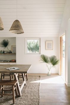 wooden table and stool / rattan suspension / jute rug - sisal - seagrass // home decor - deco - beach house - interior Article Gallery Ideas] Decor, Home Decor Inspiration, Interior, Beach House Decor, Cheap Home Decor, House Interior, Minimalist Home Decor, Home Interior Design, Interior Design