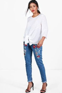 499db80a4243e #boohoo Layla Floral Embroidered Skinny Jeans - blue #Maternity Layla  Floral Embroidered Skinny Jeans