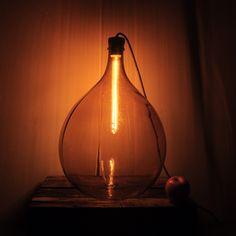 Vintage demijohn bottle lamp by Rough Hands The Hague, custom made wooden cap/lamp holder.  Katherine