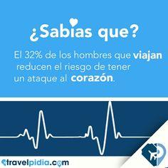 ¿Sabías que viajar reduce el riesgo de padecer un ataque al corazón? Así que a viajar con #TravelPIDIA