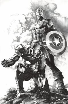 Iron man and captain america by mike deodato jr marvel comics капита́н аме́ Mike Deodato, Marvel Comics Art, Marvel Heroes, Marvel Avengers, Ms Marvel, Captain Marvel, Comic Book Characters, Marvel Characters, Comic Books Art