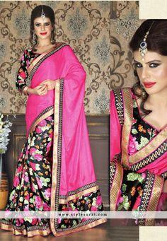 Prestigious Pink Bhagalpuri Print Printed Saree