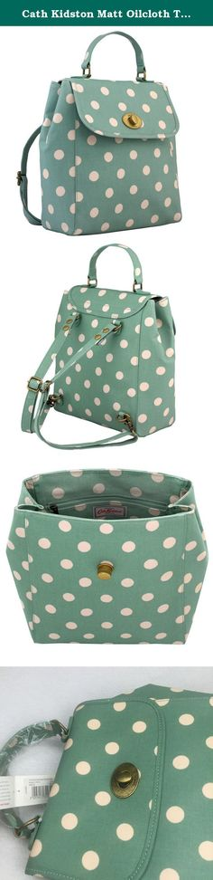 Cath Kidston Matt Oilcloth Turnlock Backpack Rucksack Polka Button Spot Green 16SS. The Button Spot Turnlock Backpack offers style and practicality in its gorgeous designing. Matt coated and finished in the button spot design this bold and fun bag features a unique turnlock, adjustable back straps and a grab handle. Offering you different ways of wear you'll fall head over heels with this bag this season. Please bear in mind it is a medium size backpack, and it is NOT big enough for A4…