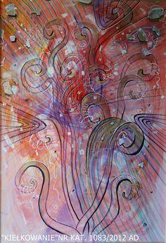 Trochę wiosny - jesienią....obraz pt.kiełkowanie słowa... O wym : 70x1m  malowany na kartonie przez Wandę Murat....Akrylem... PRICE 800 #sellart