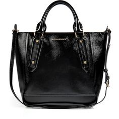 BURBERRY LONDON Textured Leather Medium Somerford Tote (6.080 BRL) ❤ liked on Polyvore featuring bags, handbags, tote bags, purses, bolsas, accessories, black shopping bags, shopping tote, pocket tote and burberry purses