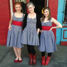 How cute are the matching divas in gingham?! Gwen and Kaci are wearing the Norma Jean and Mallory is wearing the Hottie!