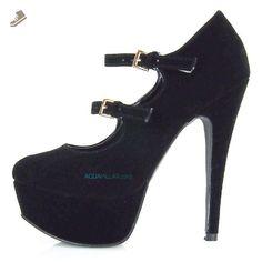 Penelope04 Closed Toe Mary Jane Ankle Strap Platform Stiletto Heel Fashion Pump (7.5 M US, Black Velvet) - Sullys pumps for women (*Amazon Partner-Link)
