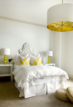 Hollywood glam white and yellow bedroom