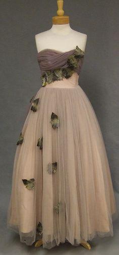 Falling Leaves Will Steinman Strapless Evening Gown - Vintageous, LLC Vintage Evening Gowns, Vintage Prom, Vintage Dresses, Nice Dresses, Vintage Outfits, Vintage Clothing, Sun Dresses, Prom Dresses, Strapless Dress