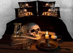 Skull and Candle Creepy Style Printed Halloween Bedding Sets/Duvet Covers