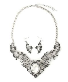 Look at this #zulilyfind! Silver Antique Grecian Leaves Bib Necklace & Drop Earrings by Urbanista #zulilyfinds